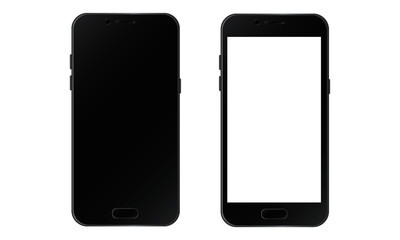 Two Realistic Black Smartphone black and white Screen Isolate on white background.