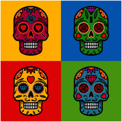 Sugar skulls pop art background