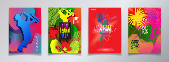 Hello Summer Festival 2018 music, jazz, pop, disco, dance, club, Holiday colorful modern poster, flyer, brochure cover layout vector. Abstract composition dynamic shapes modern design template.