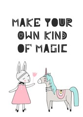 Make your own kind of magic - unique hand drawn nursery poster with handdrawn lettering in scandinavian style.
