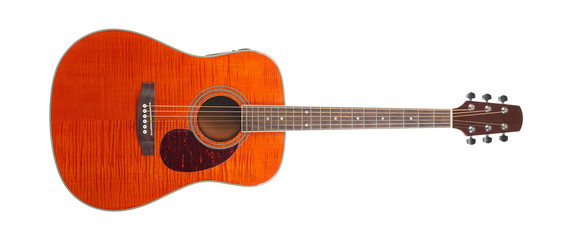 Musical instrument - Flame maple acoustic guitar isolated