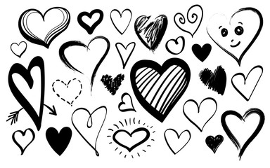 Doodle line heart icons isolated on white background set for your Valentines day design. Vector hand drawn sketch illustration