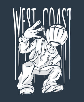 West Coast Guy Hip-Hop hand gesture. rap sign.