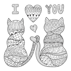 Coloring page with two romantic cats. Valentine black and white pattern. Vector illustration