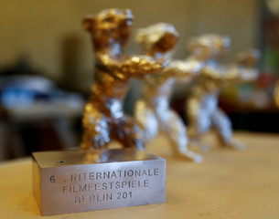 Berlin Bear awards for the upcoming Berlinale International Film Festival are pictured at the Noack foundry in Berlin