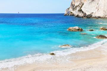 landscape of Erimitis beach Paxos Ionian islands Greece