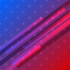 Red and blue patriotic background with star shapes