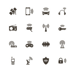 Radio icons. Perfect black pictogram on white background. Flat simple vector icon.