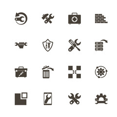 Recovery Repair icons. Perfect black pictogram on white background. Flat simple vector icon.