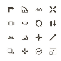 Rotate icons. Perfect black pictogram on white background. Flat simple vector icon.