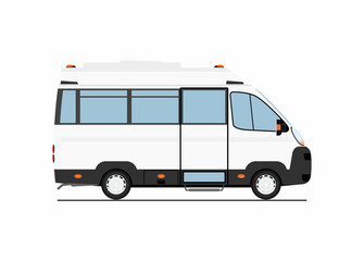 Cartoon bus. Side view. Flat vector.