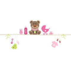 Brown Teddy & Baby Symbols Girl Retro