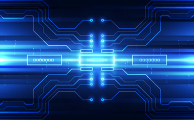 Vector Abstract futuristic circuit board, Illustration high digital technology blue color