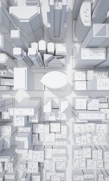 white abstract city from top view