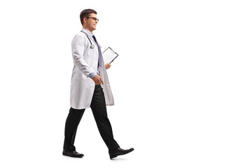 Doctor with a clipboard walking