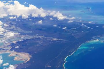 Aerial view of Bahama islands at Atlantic ocean