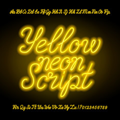 Yellow neon script alphabet font. Handwriting neon uppercase and lowercase letters and numbers. Hand drawn vector typeface for your headers or any typography design.