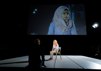 Alabdou attends a rehearsal for the Greek tragedy 'Iphigenia' with Syrian refugee women at Volksbuehne Theatre in Berlin