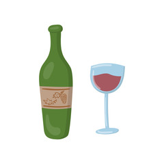 Bottle of red wine and glass cartoon vector Illustration