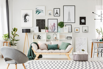 Modern flat interior with posters