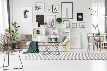Gallery in bright living room