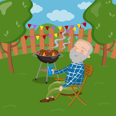 Happy smiling grandpa grilling barbecue outside while sitting on the chair, senior man having outdoor barbecue vector Illustration