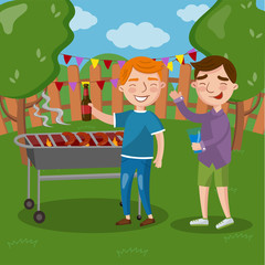 Happy friends having outdoor barbecue, men cooking meat, talking and drinking beer together vector Illustration