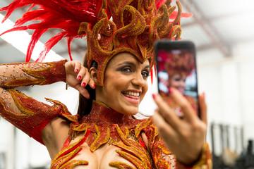 Brazilian Woman Taking a Selfie on Carnaval