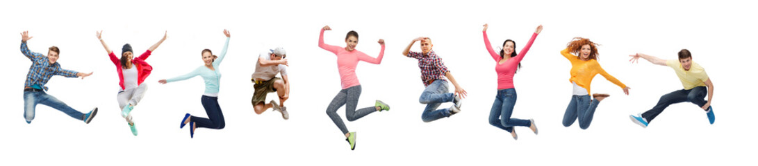 group of people or teenagers jumping
