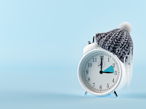 clock changing from summer to winter time. wintertime concept. 3d rendering