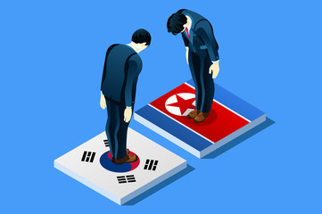 North Korea and South Korea peace negotiation infographic with flags. Standing bowing men on flag vector illustration