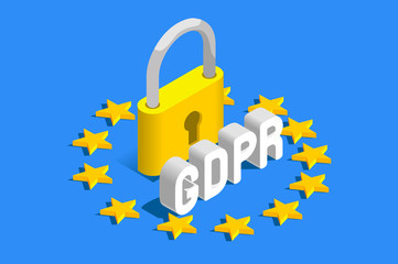 GDPR General Data Protection Regulation. EU flag. Vector illustration