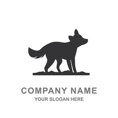 Fox Silhouette Wildlife Animal Illustration Logo Vector Icon