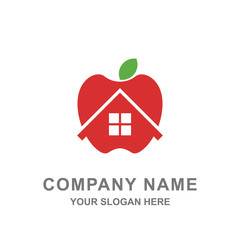 Red Apple House Farm Building Logo Vector Illustration
