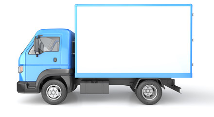 Box truck isolated on white