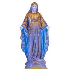 Virgin Mary statue of Catholic Church isolated on white background.
