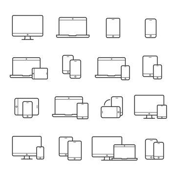 Device line icon set