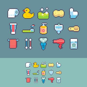 Pixel art vector bathroom supplies icons set.