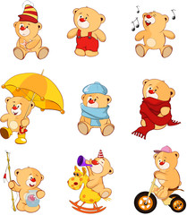 Aluminium Prints Baby room Set of Cartoon Illustration Stuffed Bears for you Design