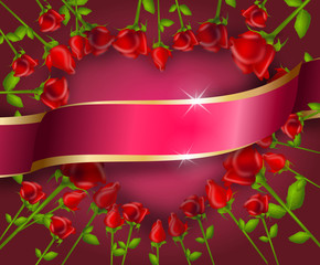 Illustration of heart set of red roses with pink ribbon