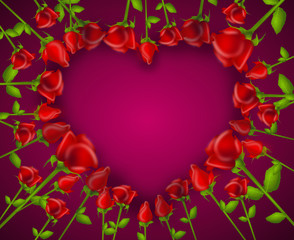 Illustration of heart set of red roses