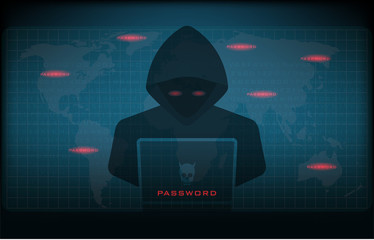 Cyber attack concept, Hacker at work with user interface