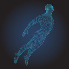 3D wire frame human body.Jumping Flying figure