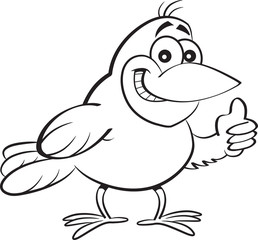 Black and white illustration of a bird giving thumbs up.