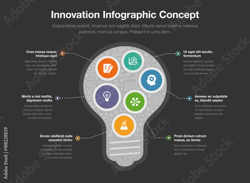 innovative infographic concept with light bulb isolated on blue