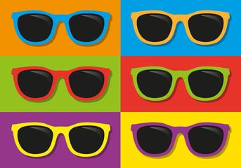 lunettes de soleil - vacances - été - symbole - coloré - mode - accessoire - plage