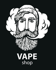 Hipster with vape and cloud. isolated vaper men on black vector background. Hand-drawn hipster dude with mustache and beard. Electronic Cigarette. Vector. Sticker