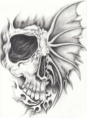 Art Surreal Face Skull Tattoo. Hand pencil drawing on paper.