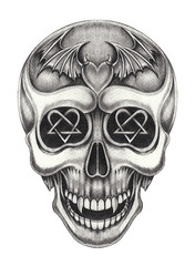 Art Wings Devil Heart mix Skull Tattoo. Hand pencil drawing on paper.