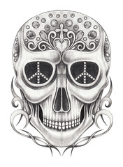 Art Vintage and gems jewelry mix Skull Tattoo. Hand pencil drawing on paper.